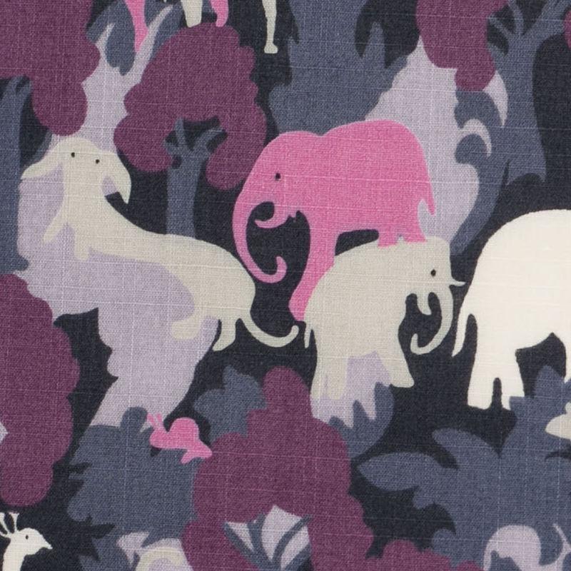Bright Lavender/Dark Gray Slubbed Animal Printed Cotton Voile - Detail