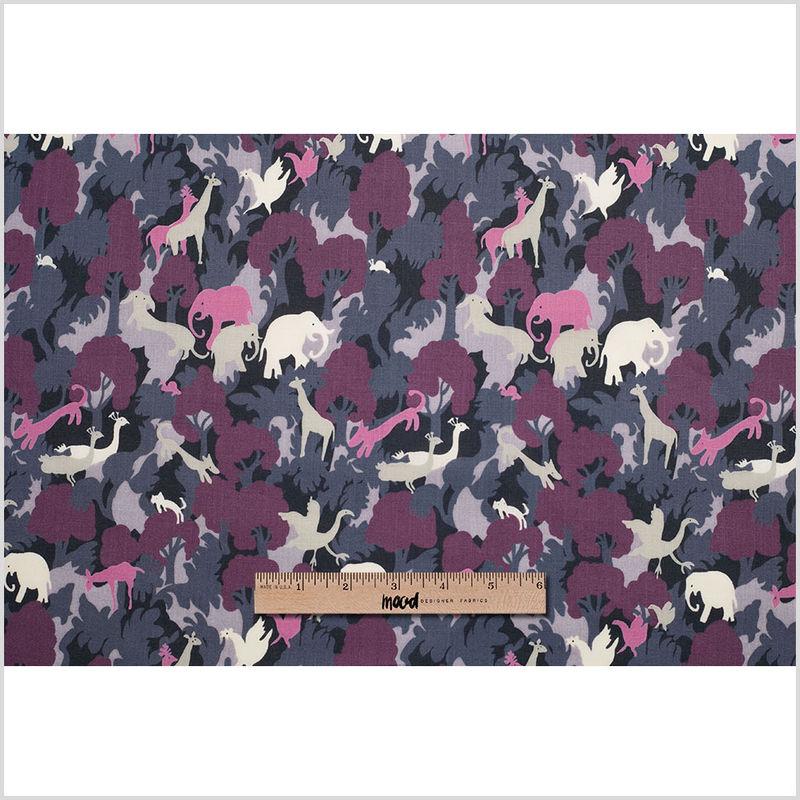 Bright Lavender/Dark Gray Slubbed Animal Printed Cotton Voile - Full