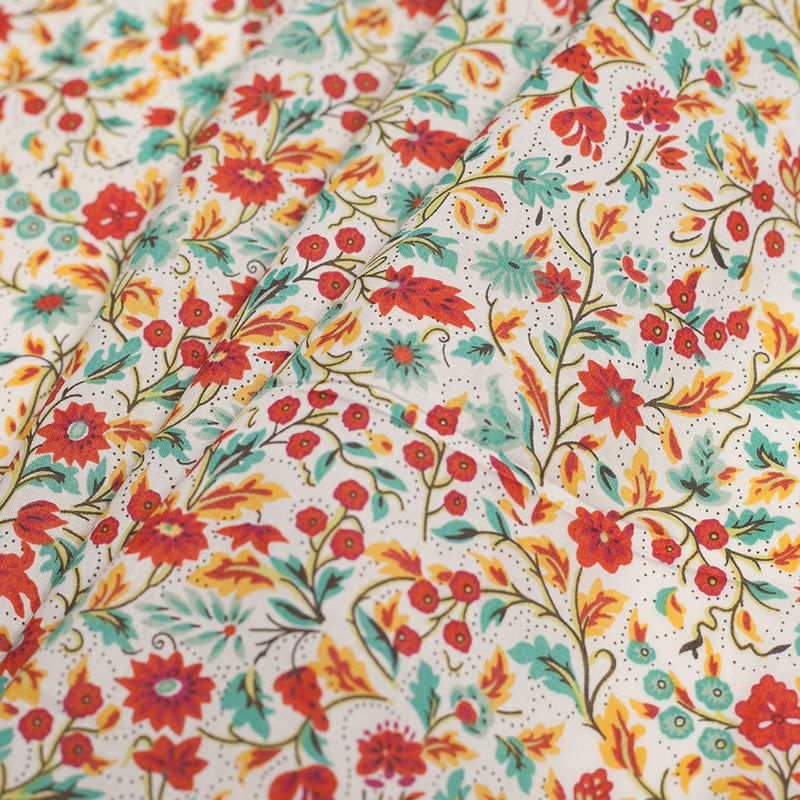 Red Clay Floral Printed Cotton Voile - Folded