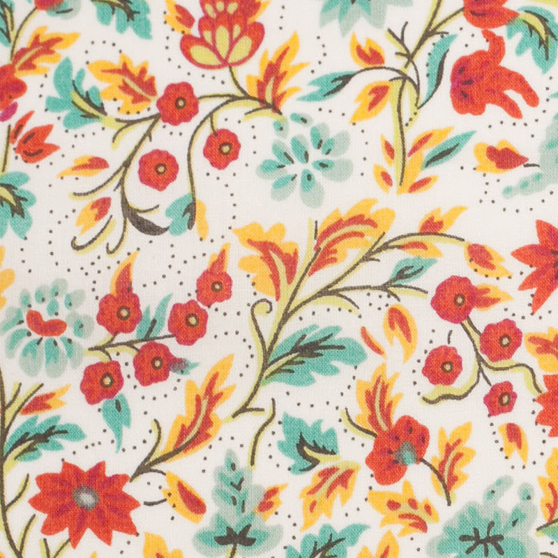 Red Clay Floral Printed Cotton Voile - Detail