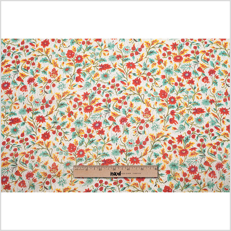 Red Clay Floral Printed Cotton Voile - Full