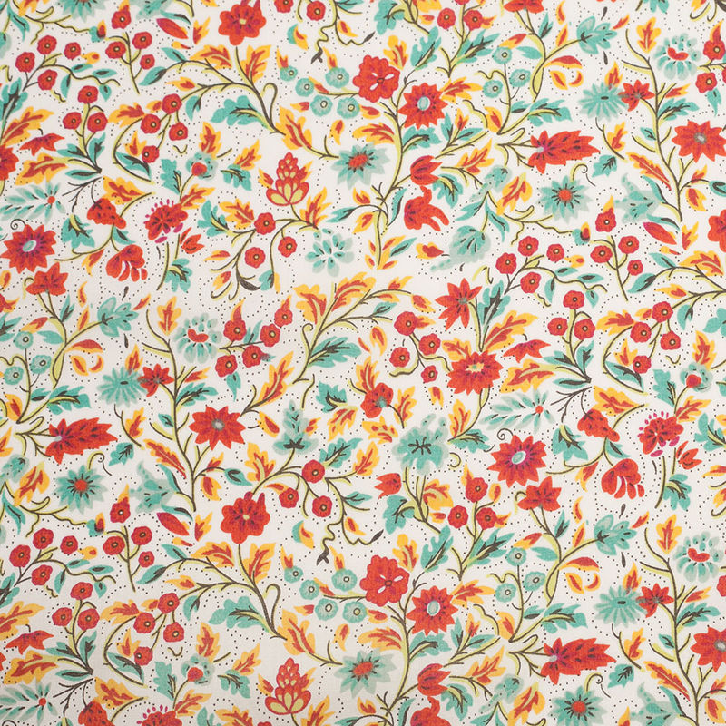 Red Clay Floral Printed Cotton Voile