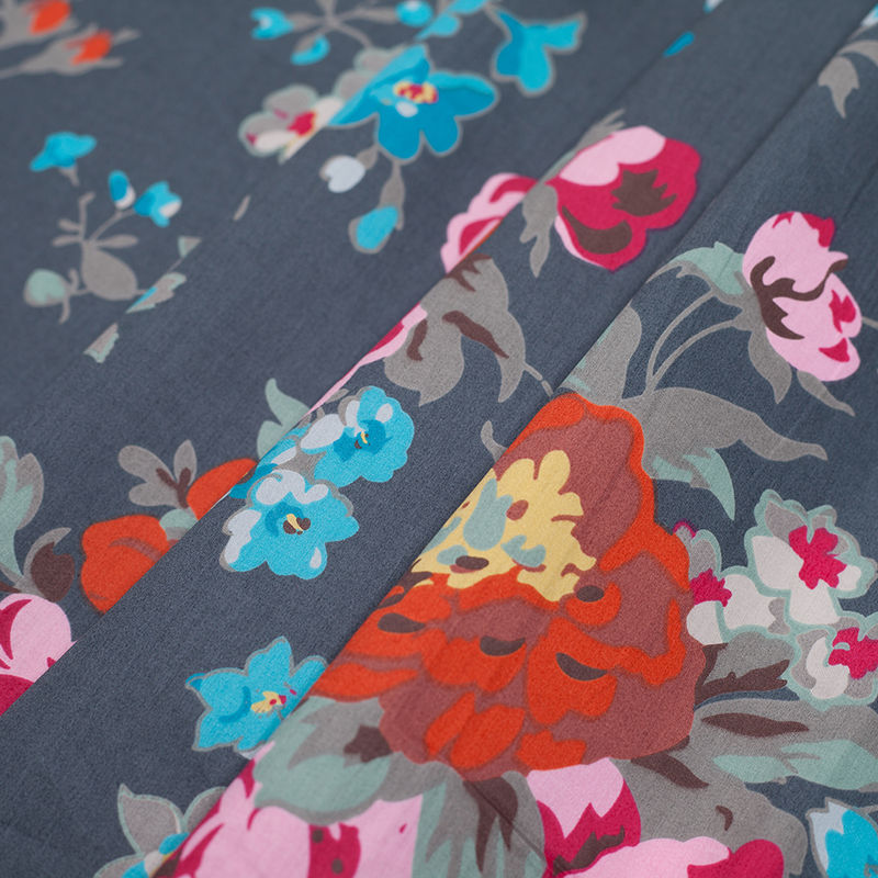 Charcoal Floral Printed Cotton Sateen - Folded