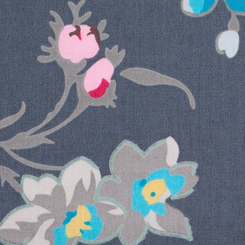 Charcoal Floral Printed Cotton Sateen - Detail