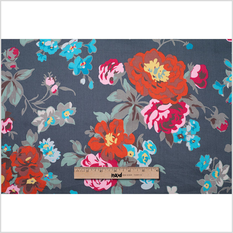 Charcoal Floral Printed Cotton Sateen - Full