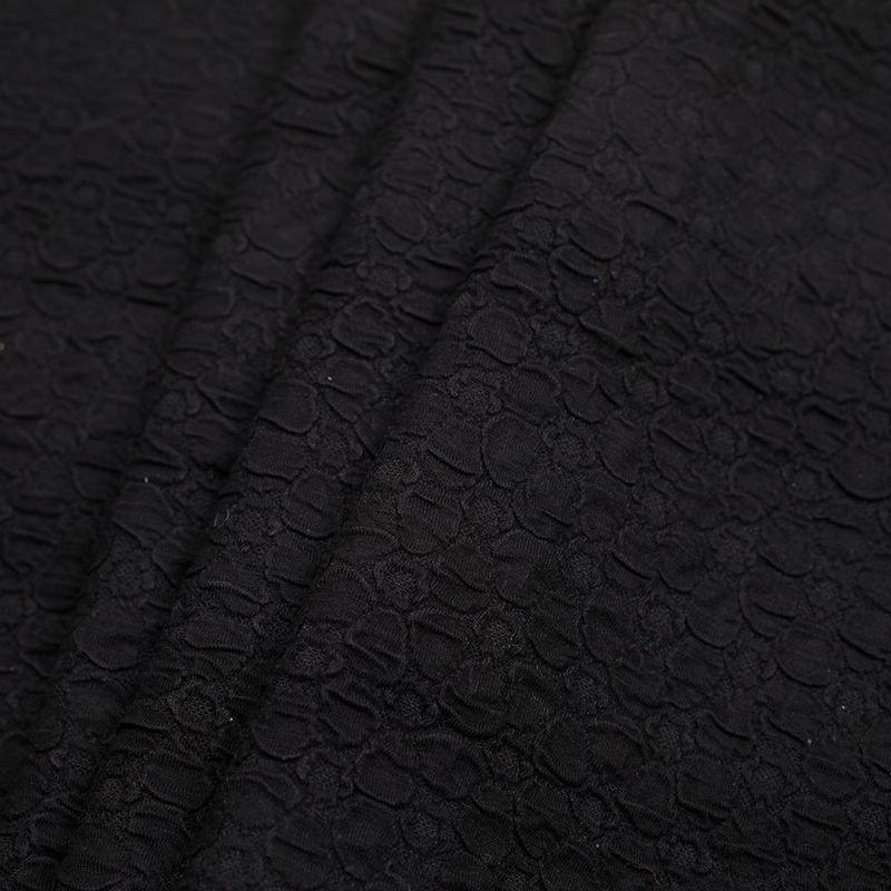 Black Stretch Viscose-Nylon Novelty Knit - Folded