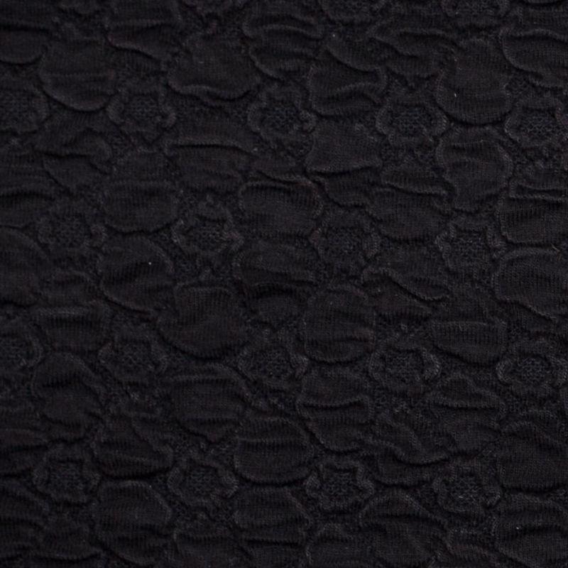 Black Stretch Viscose-Nylon Novelty Knit - Detail