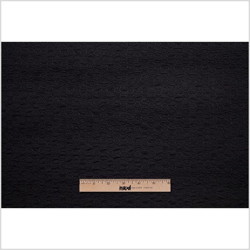 Black Stretch Viscose-Nylon Novelty Knit - Full