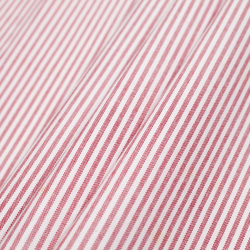 Italian Red/White Striped Cotton Woven - Folded