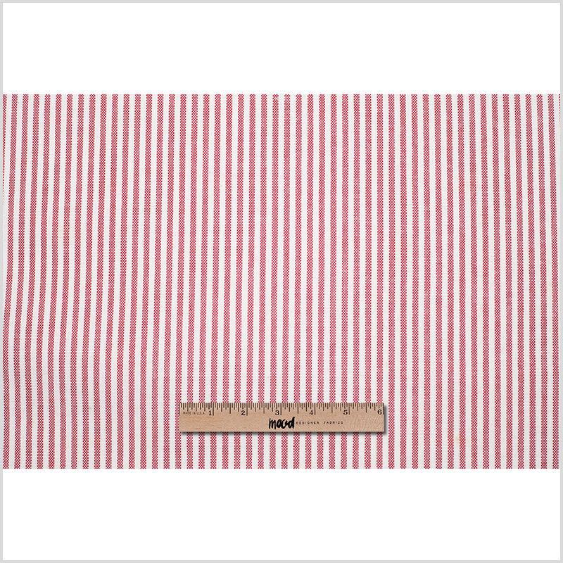 Italian Red/White Striped Cotton Woven - Full