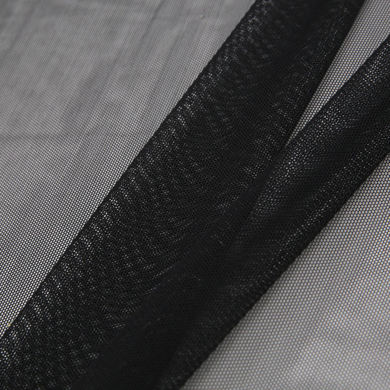 Black Stretch Polyester Power Mesh - Folded