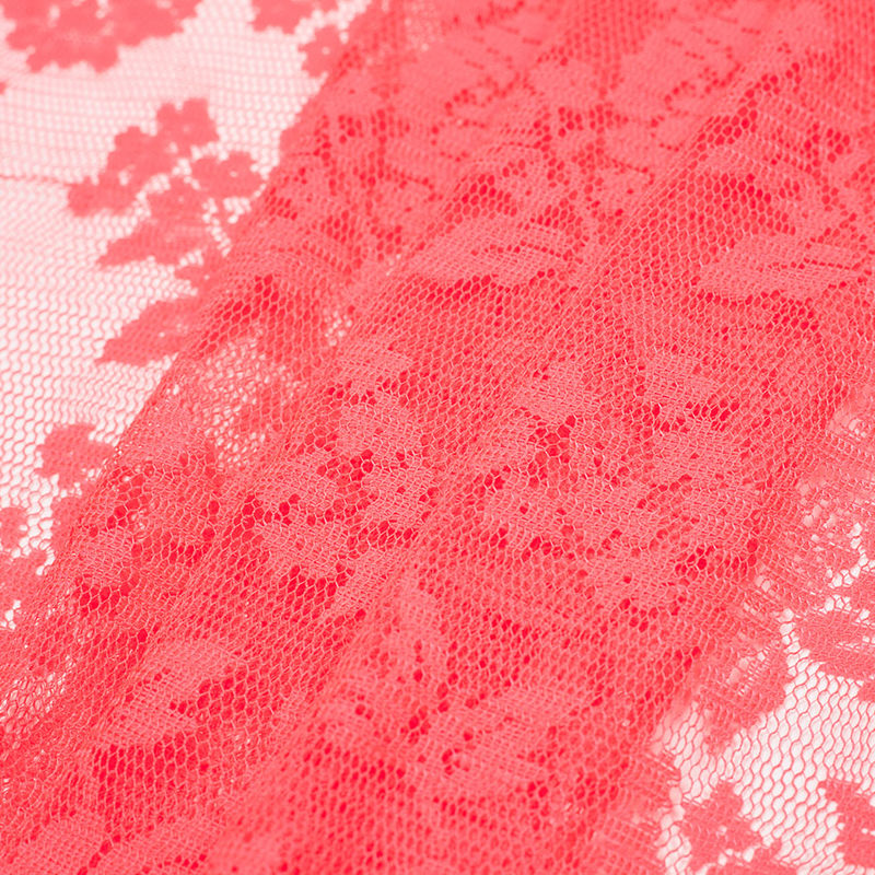 Neon Coral Floral Polyester Heavy Crochet Lace - Folded