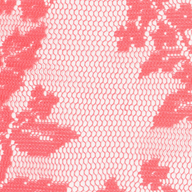 Neon Coral Floral Polyester Heavy Crochet Lace - Detail