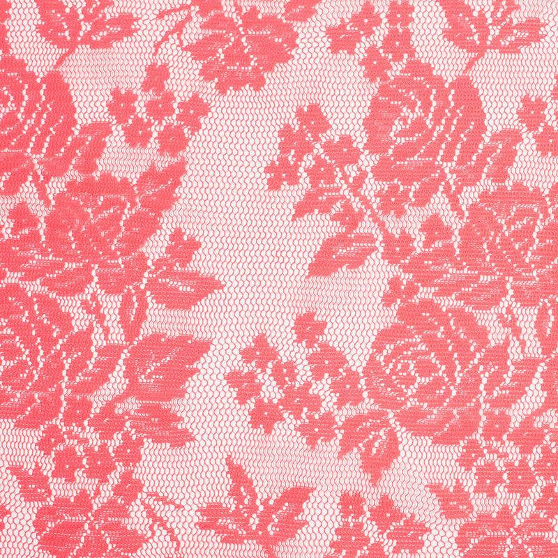 Neon Coral Floral Polyester Heavy Crochet Lace