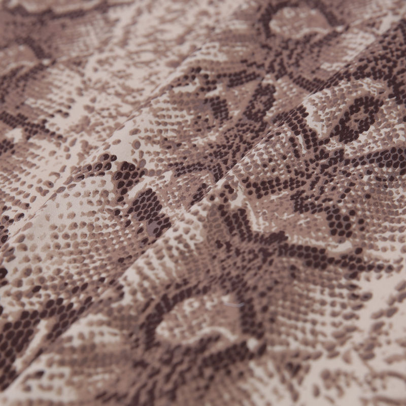 Beige/Brown Python Printed Stretch Cotton Sateen - Folded