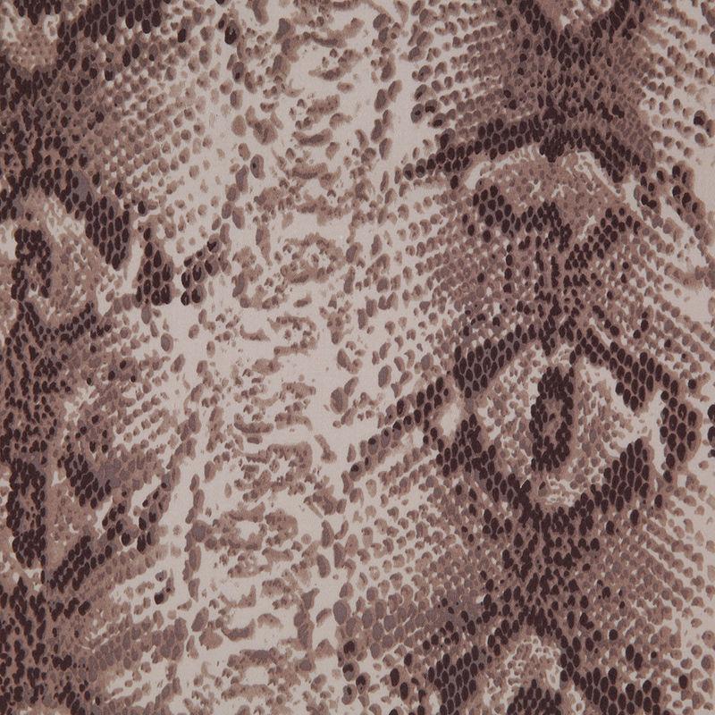 Beige/Brown Python Printed Stretch Cotton Sateen - Detail