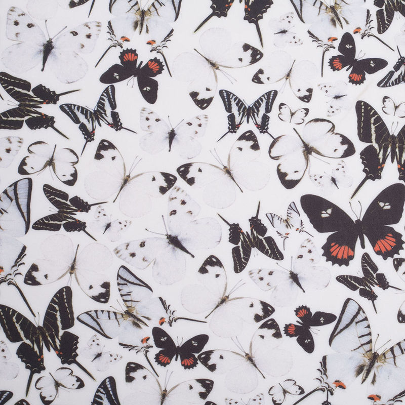 Black/White Butterflies Digitally Printed Stretch Neoprene/Scuba Knit