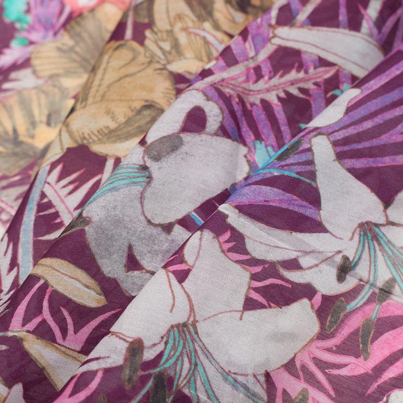 Liberty of London Anna's Garden Pink/Purple Silk-Cotton Voile - Folded