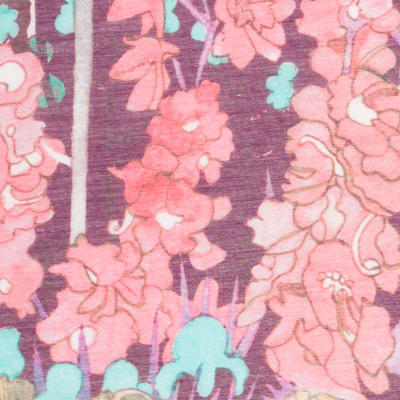 Liberty of London Anna's Garden Pink/Purple Silk-Cotton Voile - Detail