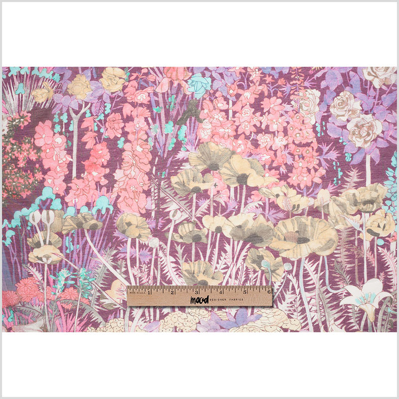 Liberty of London Anna's Garden Pink/Purple Silk-Cotton Voile - Full