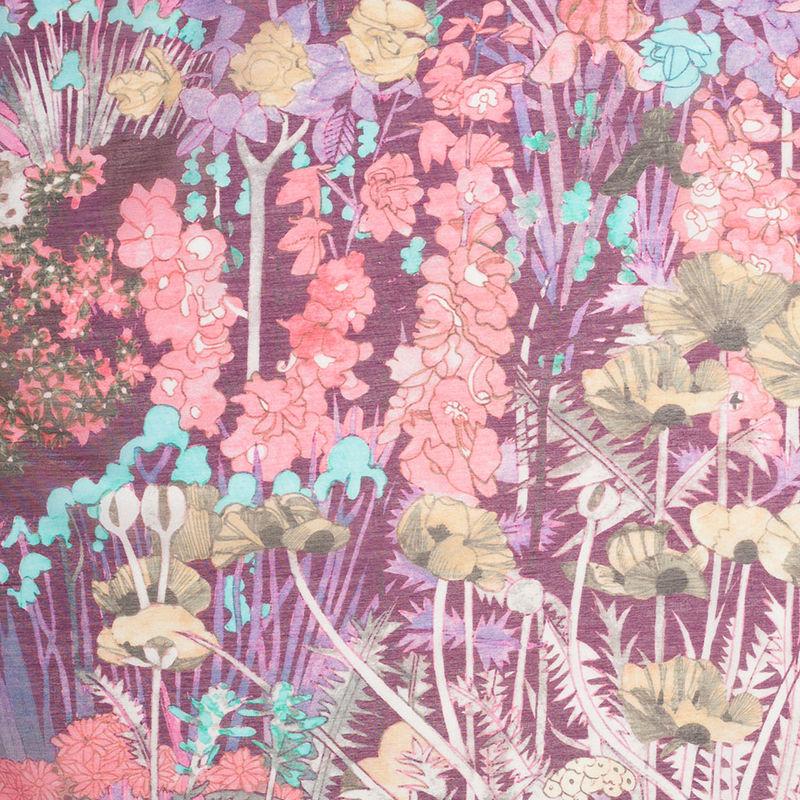 Liberty of London Anna's Garden Pink/Purple Silk-Cotton Voile