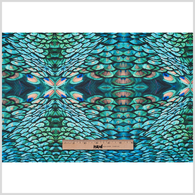 Peacock Kaleidoscopic Digitally Printed Stretch Neoprene/Scuba Knit - Full