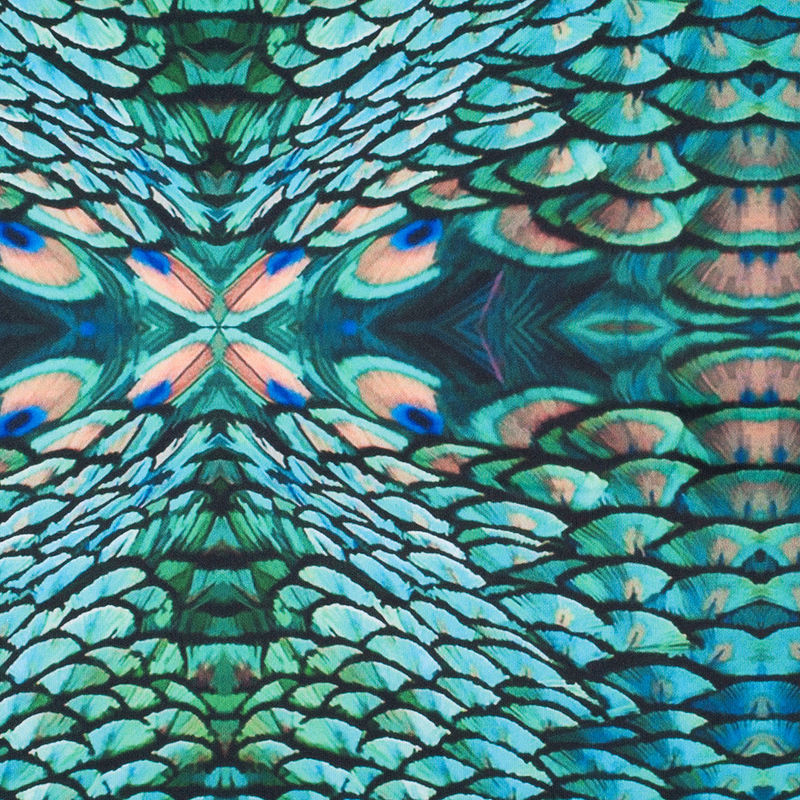 Peacock Kaleidoscopic Digitally Printed Stretch Neoprene/Scuba Knit