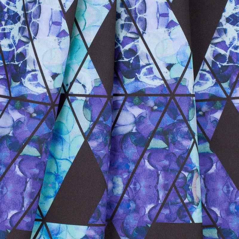 Purple/Teal Geometric Hydrangea Digitally Printed Stretch Neoprene/Scuba Knit - Folded