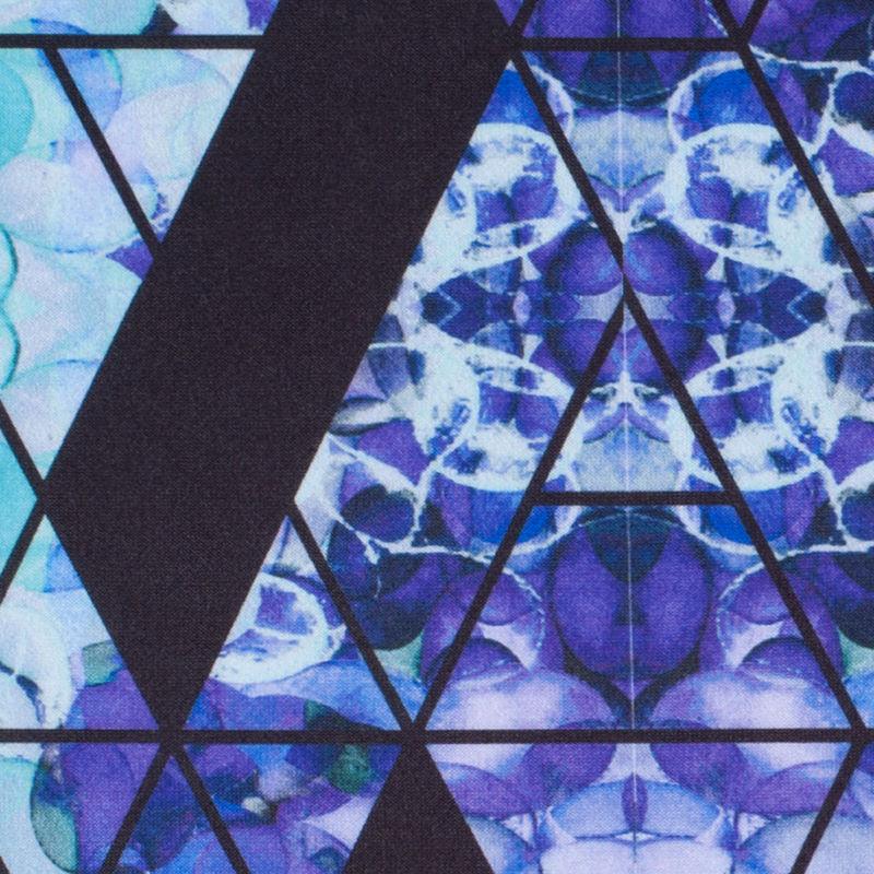 Purple/Teal Geometric Hydrangea Digitally Printed Stretch Neoprene/Scuba Knit - Detail