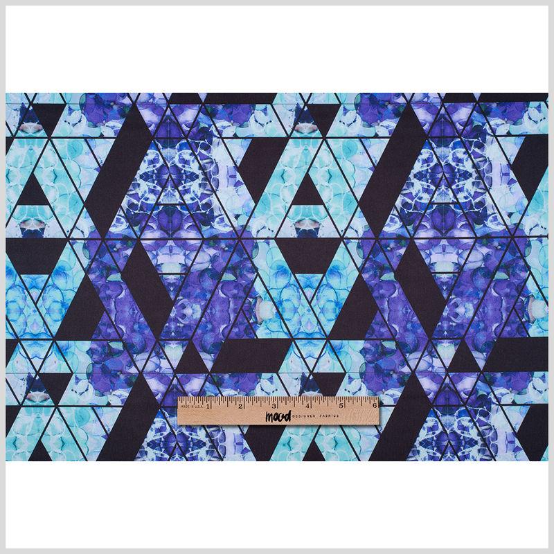 Purple/Teal Geometric Hydrangea Digitally Printed Stretch Neoprene/Scuba Knit - Full