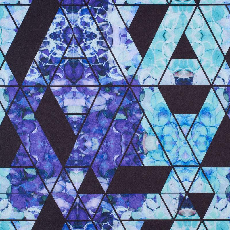 Purple/Teal Geometric Hydrangea Digitally Printed Stretch Neoprene/Scuba Knit