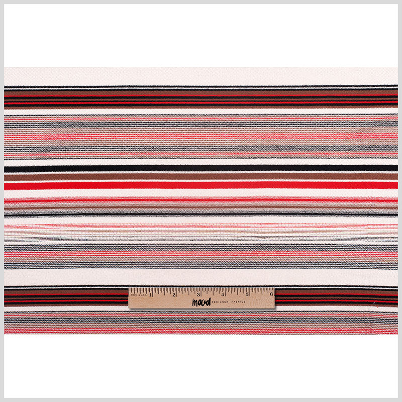 Taupe/Mocha/Black/Red Stretch Cotton Terry - Full