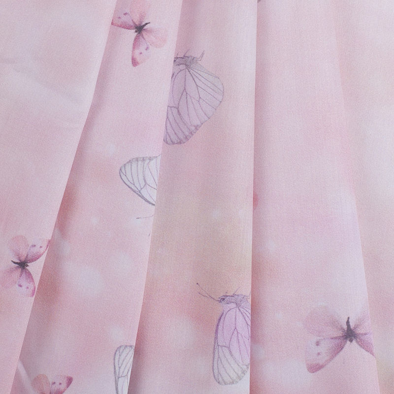 Light Pink Butterfly Digitally Printed Mercerized Cotton Woven - Folded