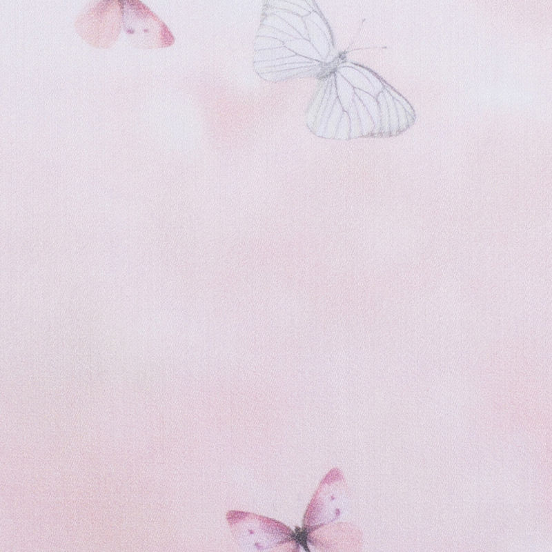 Light Pink Butterfly Digitally Printed Mercerized Cotton Woven - Detail