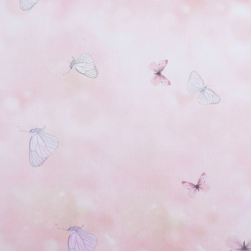 Light Pink Butterfly Digitally Printed Mercerized Cotton Woven
