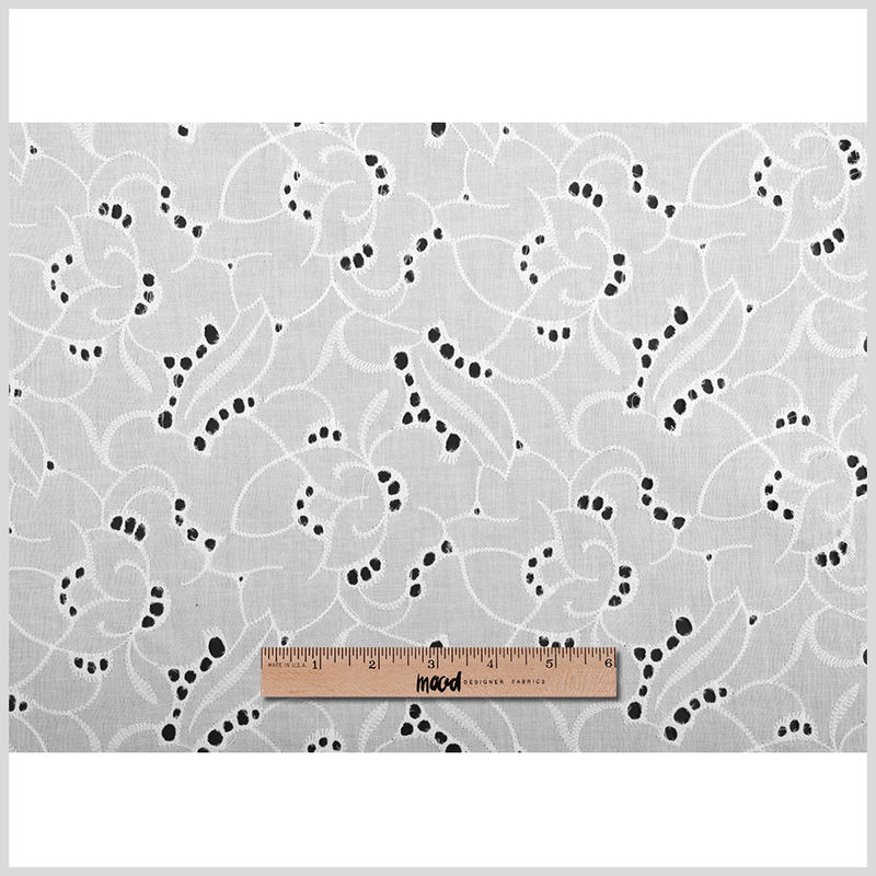 White Embroidered Floral Cotton Eyelet - Full