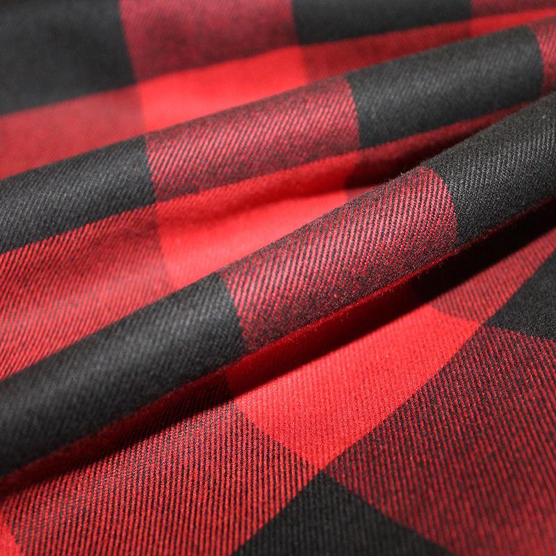 Dark Red/Black Buffalo Check Cotton Flannel - Folded