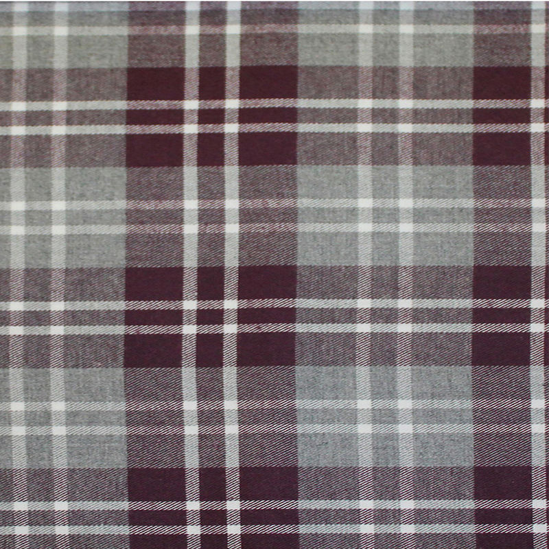 Maroon/Gray Tartan Plaid Cotton Flannel - Detail
