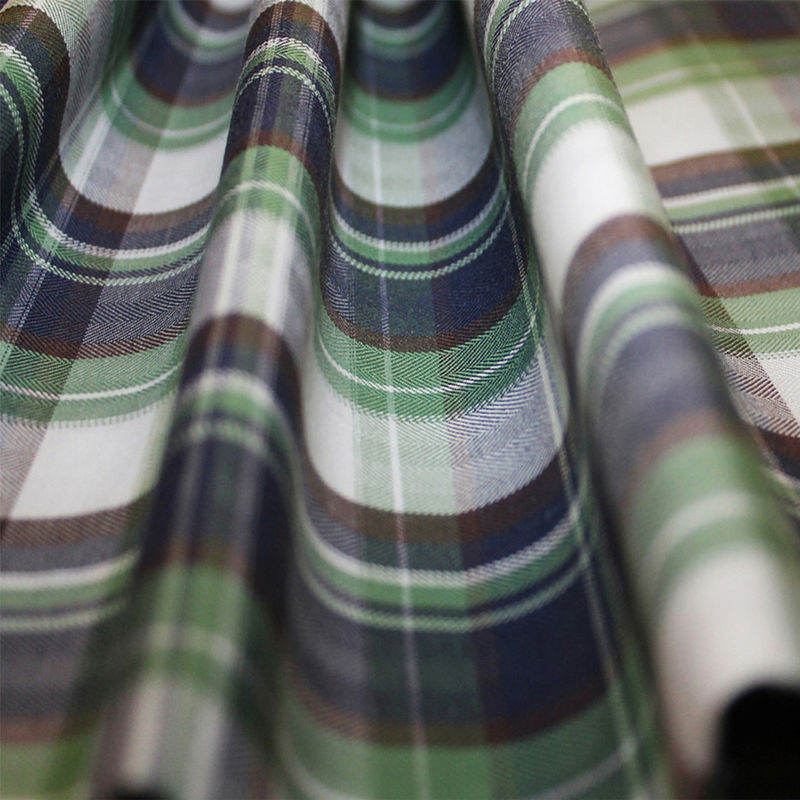Green/Blue/Brown/White Plaid Cotton Flannel - Folded