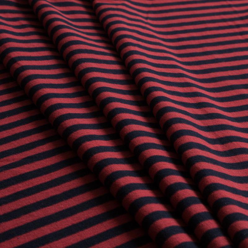 Red/Navy Striped Cotton Jersey Knit - Folded