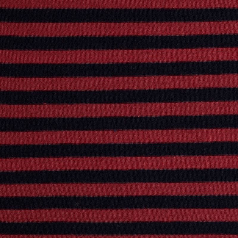 Red/Navy Striped Cotton Jersey Knit