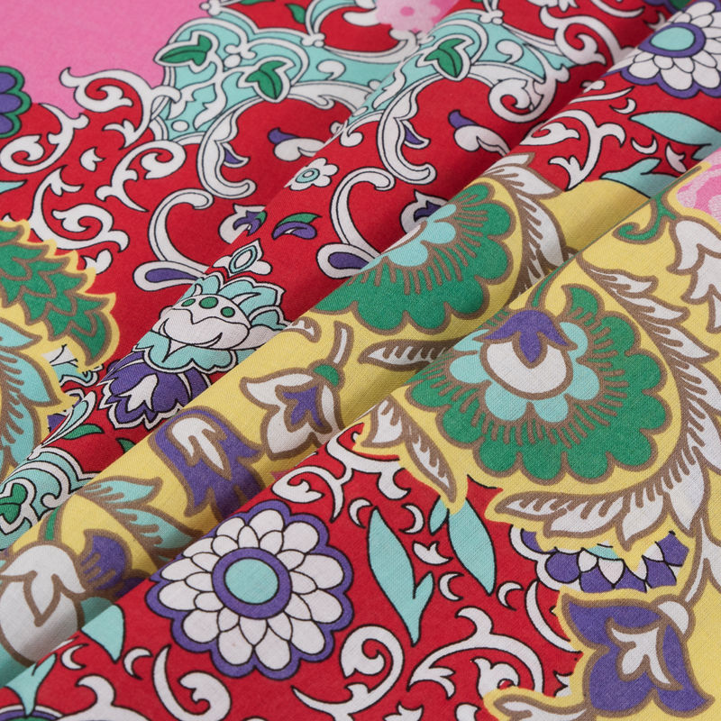 Italian Red/Pink Floral Printed Cotton Batiste - Folded