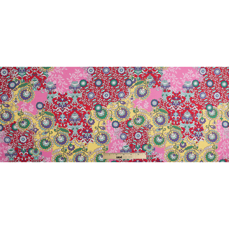 Italian Red/Pink Floral Printed Cotton Batiste - Full