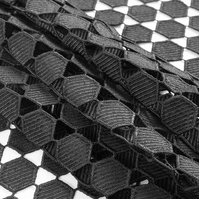 Black Geometric Guipure Lace - Folded