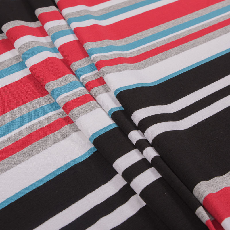 Bulgarian Red/Blue Barcode Striped Stretch Rayon Jersey Knit - Folded