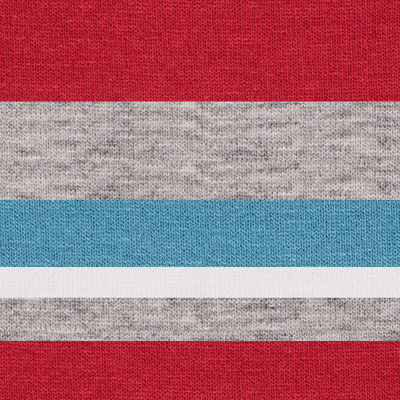 Bulgarian Red/Blue Barcode Striped Stretch Rayon Jersey Knit - Detail
