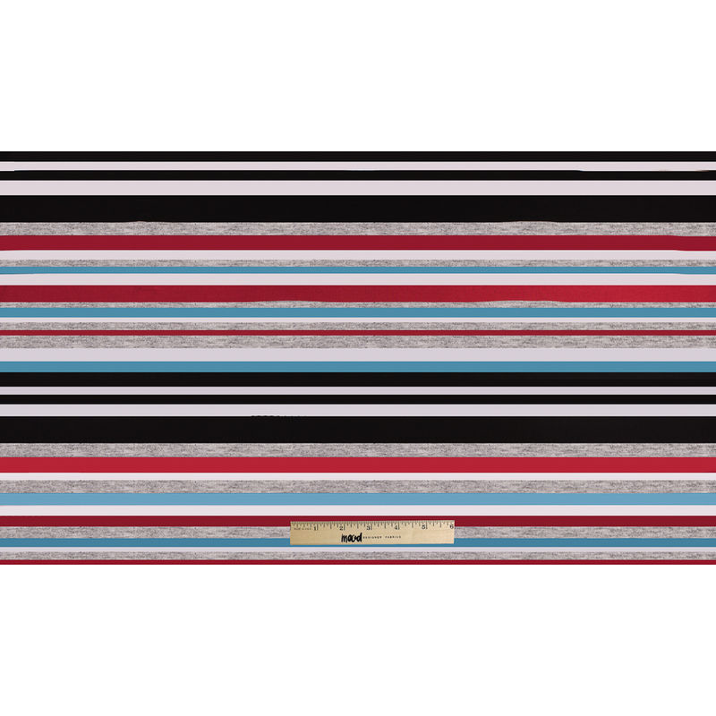 Bulgarian Red/Blue Barcode Striped Stretch Rayon Jersey Knit - Full