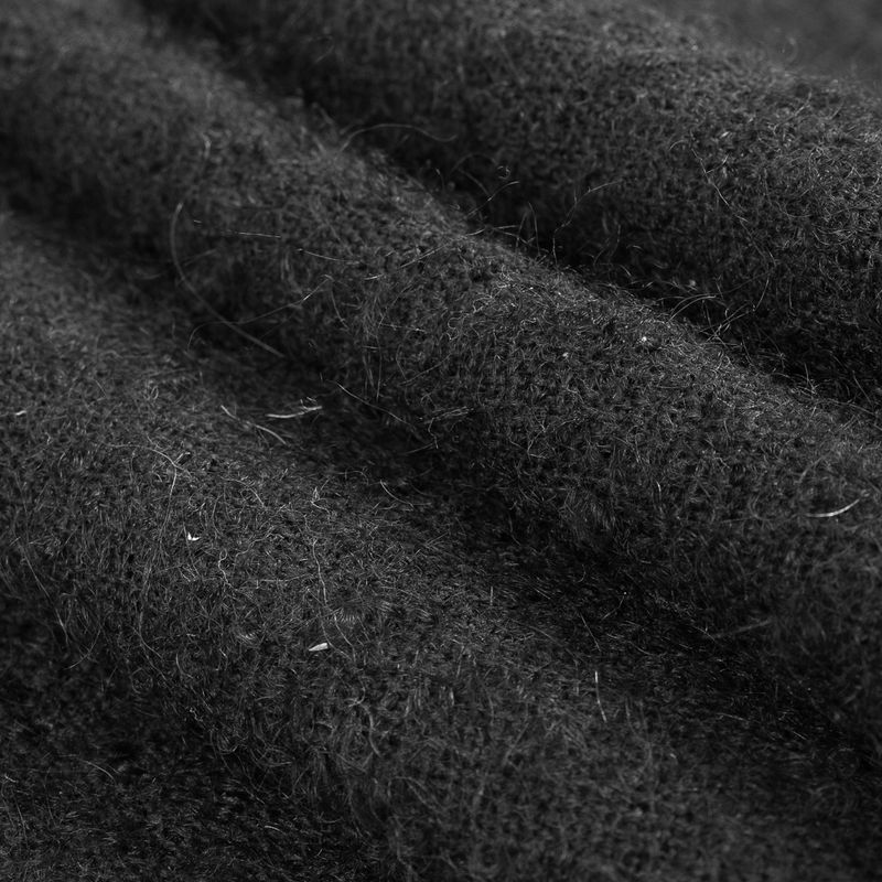 Black Boucled Wool and Mohair Woven - Folded
