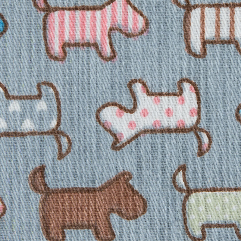 Fog Blue/Multi-colored Patterned Dogs Printed on a Cotton Twill - Detail