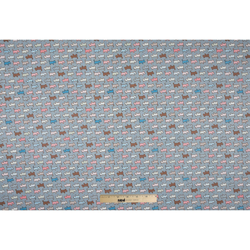 Fog Blue/Multi-colored Patterned Dogs Printed on a Cotton Twill - Full